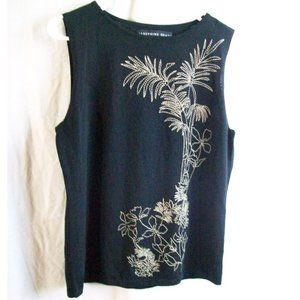 Josephine Chaus Black Embroidered Tank Top- Size L
